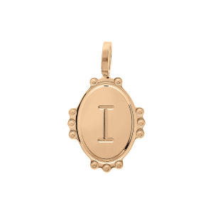 PENDENTIF PLAQUÉ OR MEDAILLE OVALE 14MM PERLÉE INITIALE  I