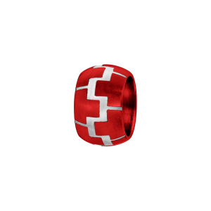 CHARMS ALUMINIUM ANODISE ROUGE ANNEAU BOMBE MOTIF ZIG ZAG