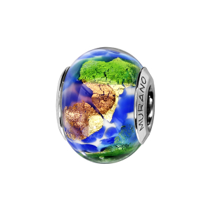 CHARMS COULISSANT ARGENT RHODIE MURANO BLEU VERT