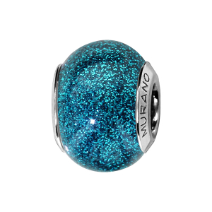 CHARMS COULISSANT ARGENT RHODIE MURANO BLEU TURQUOISE PAILLETE