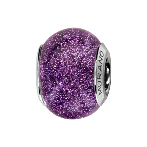 CHARMS COULISSANT ARGENT RHODIE MURANO VIOLET PAILLETE