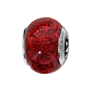 CHARMS COULISSANT ARGENT RHODIE MURANO ROUGE PAILLETE