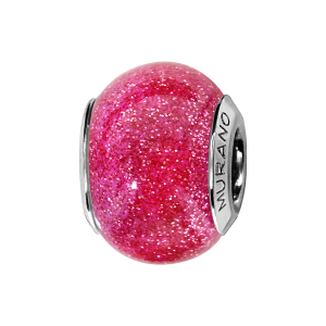 CHARMS COULISSANT ARGENT RHODIE MURANO ROSE PAILLETE