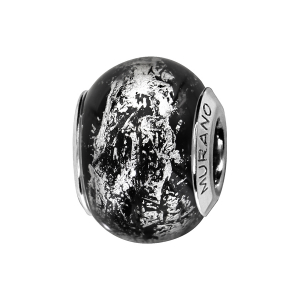 CHARMS COULISSANT ARGENT RHODIE MURANO NOIR REFLET ARGENTE
