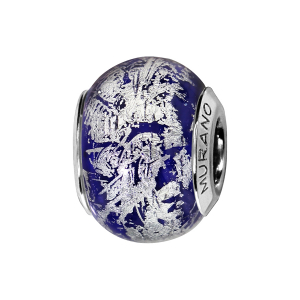 CHARMS COULISSANT ARGENT RHODIE MURANO BLEU REFLET ARGENTE