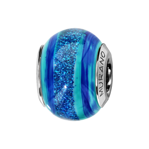 CHARMS COULISSANT ARGENT RHODIE MURANO BLEU TURQUOISE BANDE PAILLETE BLEU