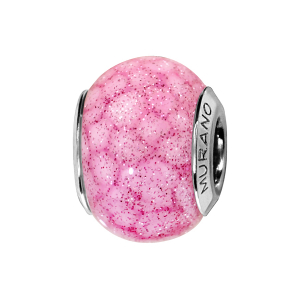 CHARMS COULISSANT ARGENT RHODIE MURANO ROSE TACHETE PAILLETE