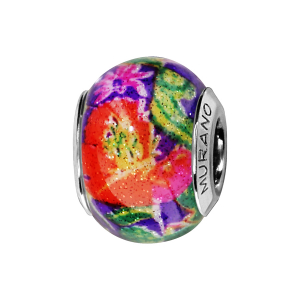 CHARMS COULISSANT ARGENT RHODIE MURANO MULTICOULEUR