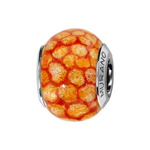 CHARMS COULISSANT ARGENT RHODIE MURANO ORANGE TACHETE