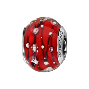 CHARMS COULISSANT ARGENT RHODIE MURANO ROUGE BULLES ARGENT ET FILET