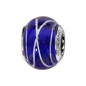 CHARMS COULISSANT ARGENT RHODIE MURANO BLEU FONCE FILET ARGENT
