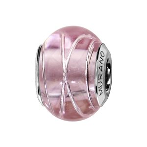 CHARMS COULISSANT ARGENT RHODIE MURANO ROSE FILET ARGENT