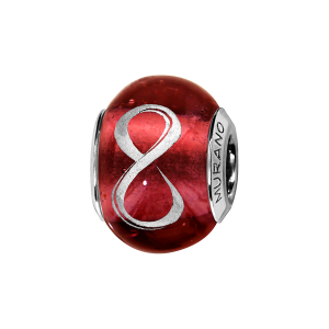 CHARMS COULISSANT ARGENT RHODIE MURANO ROUGE SYMBOLE INFINI