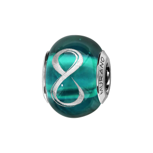 CHARMS COULISSANT ARGENT RHODIE MURANO VERT SYMBOLE INFINI