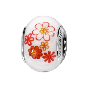 CHARMS COULISSANT ARGENT RHODIE MURANO BLANC FLEURS ORANGES