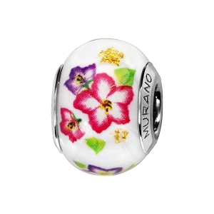 CHARMS COULISSANT ARGENT RHODIE MURANO BLANC FLEURS