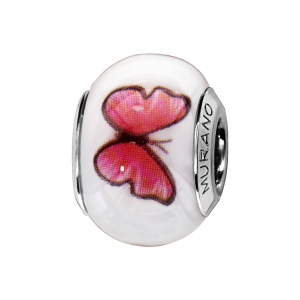 CHARMS COULISSANT ARGENT RHODIE MURANO BLANC PAPILLONS