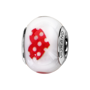 CHARMS COULISSANT ARGENT RHODIE MURANO BLANC COEURS ROSES
