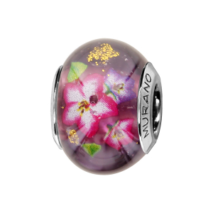 CHARMS COULISSANT ARGENT RHODIE MURANO VIOLET FLEURS