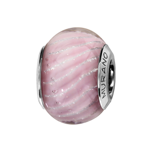 CHARMS COULISSANT ARGENT RHODIE MURANO ROSE STRIE