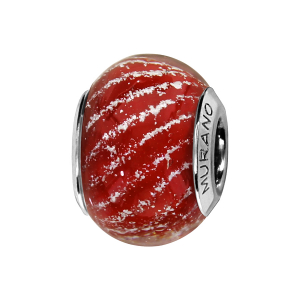 CHARMS COULISSANT ARGENT RHODIE MURANO ROUGE STRIE