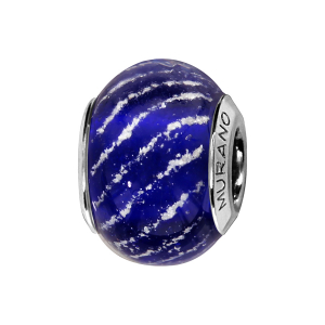 CHARMS COULISSANT ARGENT RHODIE MURANO BLEU ROYAL STRIE