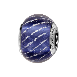 CHARMS COULISSANT ARGENT RHODIE MURANO BLEU MOYEN STRIE