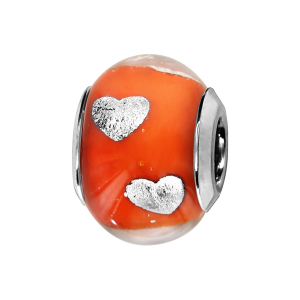 CHARMS COULISSANT ARGENT RHODIE MURANO ORANGE AVEC COEUR