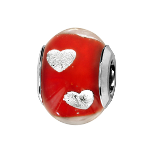 CHARMS COULISSANT ARGENT RHODIE MURANO ROUGE AVEC COEUR