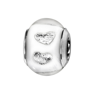 CHARMS COULISSANT ARGENT RHODIE MURANO BLANC MAT AVEC COEUR