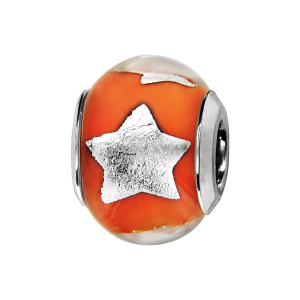 CHARMS COULISSANT ARGENT RHODIE MURANO ORANGE AVEC ETOILE