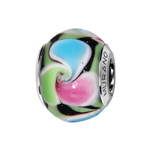 CHARMS COULISSANT ARGENT RHODIE MURANO MULTI COULEURS