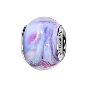 CHARMS COULISSANT ARGENT RHODIE MURANO