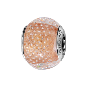 CHARMS COULISSANT ARGENT RHODIE MURANO TRANSPARENT