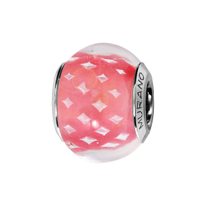 CHARMS COULISSANT ARGENT RHODIE MURANO ROSE