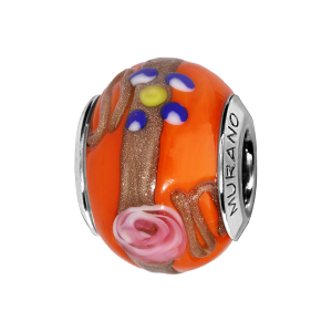 CHARMS COULISSANT ARGENT RHODIE MURANO ORANGE