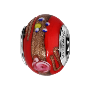 CHARMS COULISSANT ARGENT RHODIE MURANO ROUGE