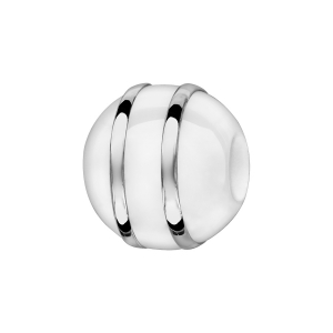 CHARMS BOULE CERAMIQUE BLANCHE 2 FILETS ARGENT RHODIE
