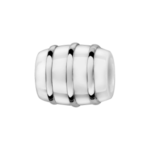 CHARMS TUBE CERAMIQUE BLANCHE 3 FILETS ARGENT RHODIE