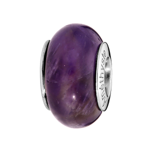 CHARMS COULISSANT ARGENT RHODIE PIERRE NATURELLE AMETHYSTE