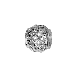 CHARMS COULISSANT ARGENT RHODIE BOULE QUADRILLEE