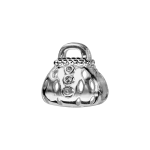 CHARMS COULISSANT ARGENT RHODIE SAC AVEC PIERRES SYNTHETIQUE BLANCHES