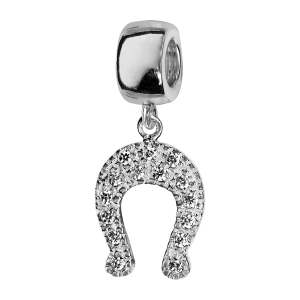 CHARMS COULISSANT ARGENT RHODIE SUSPENDU FER A CHEVAL AVEC PIERRES BLANCHES SYNTH