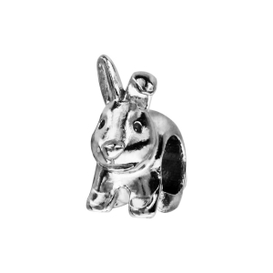 CHARMS COULISSANT ARGENT RHODIE LAPIN