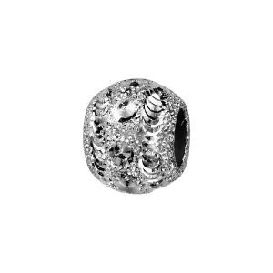 CHARMS COULISSANT ARGENT RHODIE BOULE DIAMANTEE GIVREE 10x5MM
