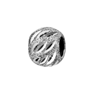 CHARMS COULISSANT ARGENT RHODIE BOULE CISELEE DIAMANTEE AJOUREE 10X5MM