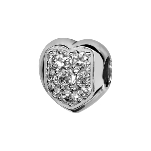 CHARMS COULISSANT ARGENT RHODIE COEUR PIERRES BLANCHES SERTIS