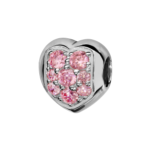 CHARMS COULISSANT ARGENT RHODIE COEUR PIERRES ROSES CLAIRS SYNTHETIQUE SERTIS
