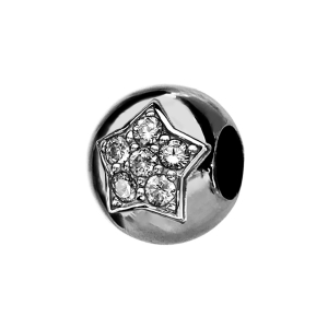 CHARMS COULISSANT ARGENT RHODIE BOULE ETOILE 5 OXYDES BLANCS SERTIS