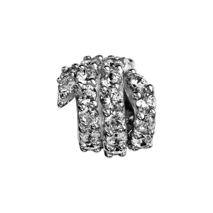 CHARMS COULISSANT ARGENT RHODIE BOULE SPIRALE OXYDES BLANCS SERTIS